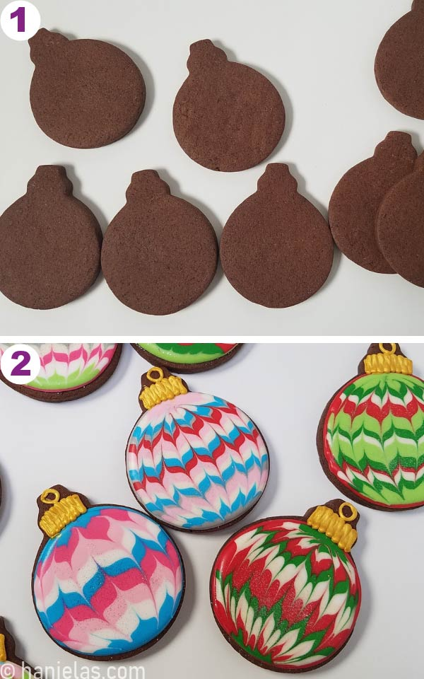 Baked undecorated chocolate cookies and decorated cookies on a white background.