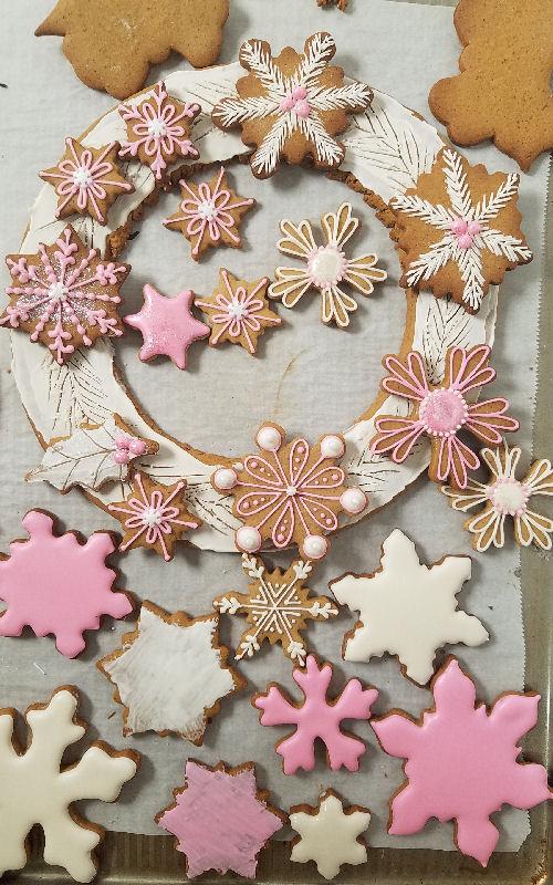 snowflake cookies, snowflake wreath