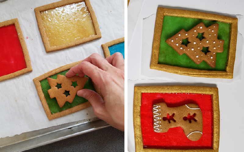 stained glass cookies, gingerbread, gingerbread lantern