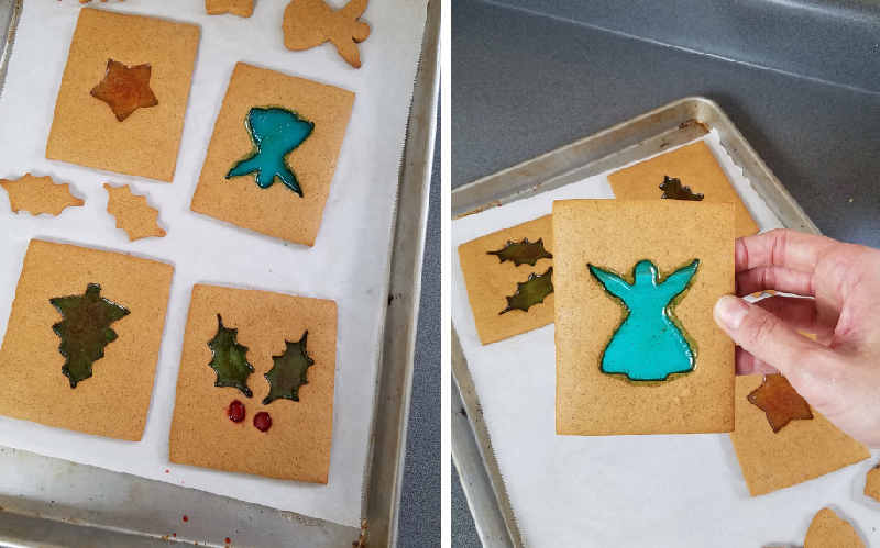 stained glass cookies, gingerbread