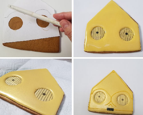 Airbrushing cookie with gold airbrushing color.