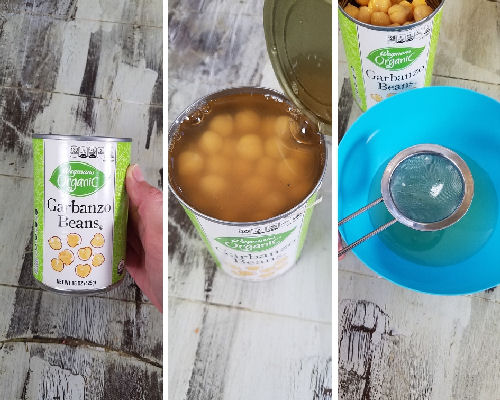 Draining chickpeas from the can.