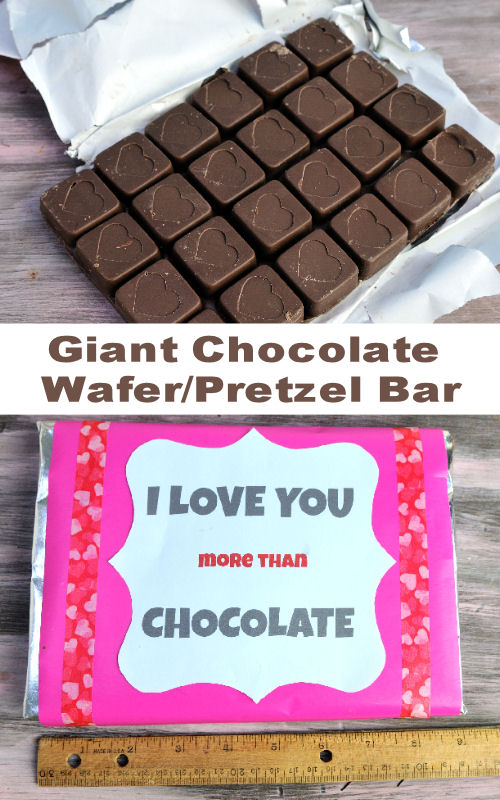 Giant Chocolate Candy Bar wrapped, with a personalized message.