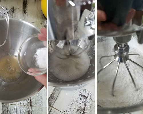 Mixing icing with a wire attachment.