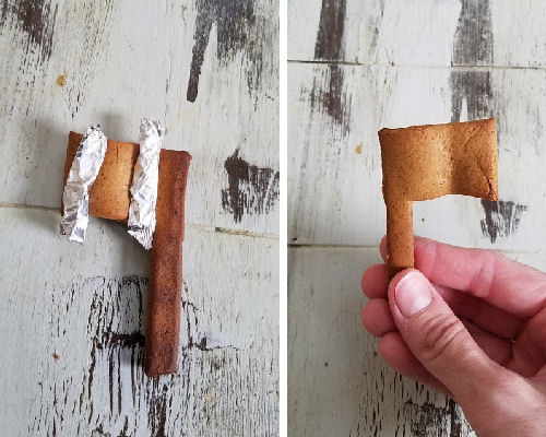 Gingerbread cookies shaped using foil.