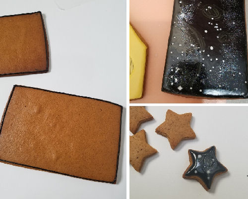 Black, gray and white royal icing iced galaxy cookie.