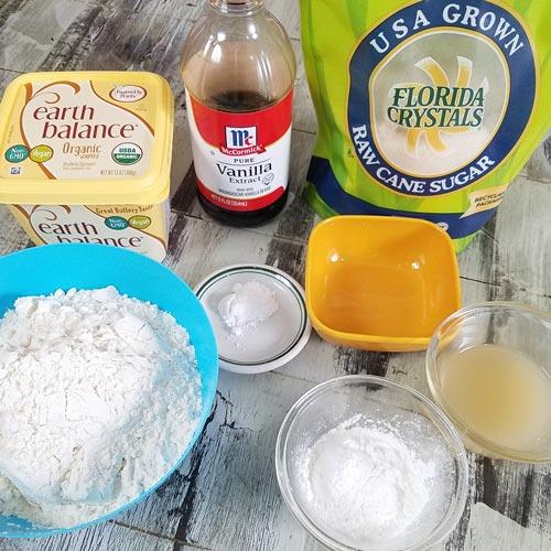 Ingredients for vegan sugar cookies