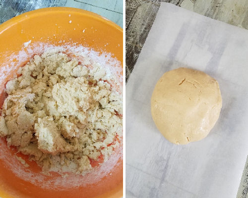 Cookie dough shaped into a ball on a parchment paper.