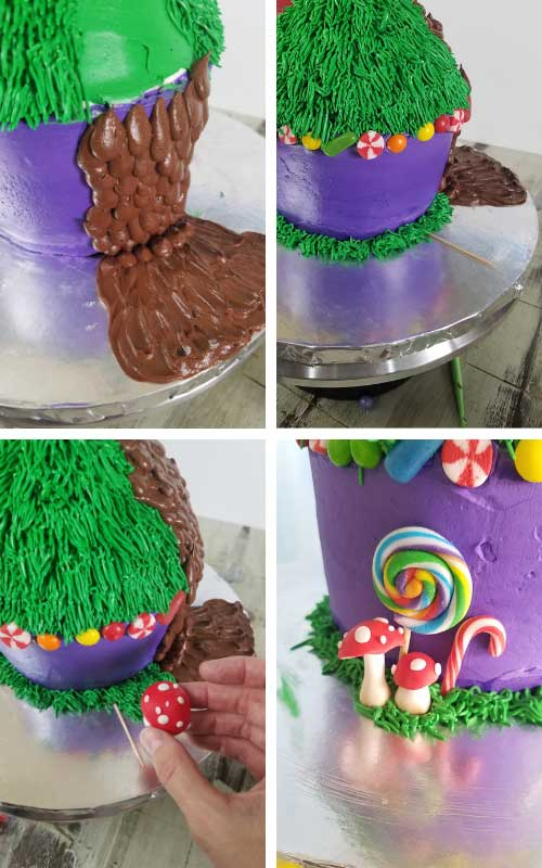 Piping chocolate river onto a cake