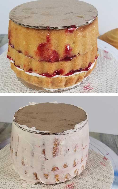 Raspberry Jam and Buttercream filled cake