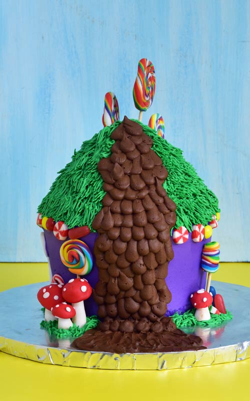 Willy Wonka Cake Decorated with Buttercream chocolate waterfall and lollipops