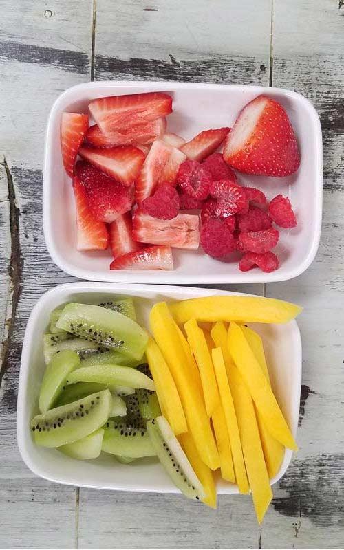Fruit cut up for Dessert Sushi making