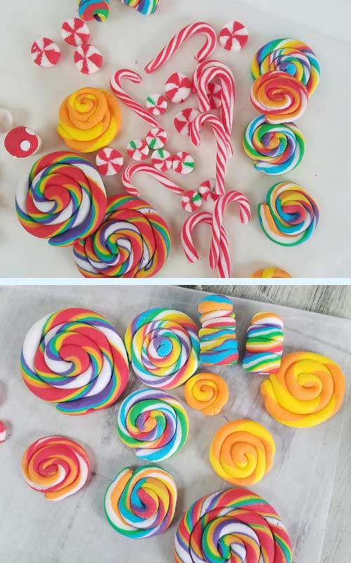 fondant lollipops, candy canes on a tray