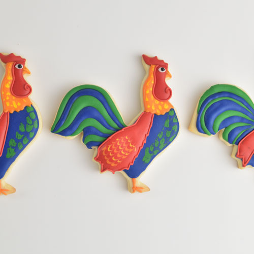 rooster cookies decorated with royal icing