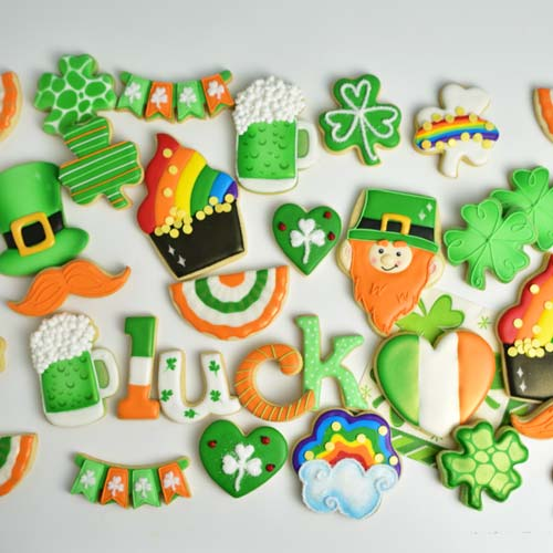 how to decorate beer, pot of gold, leprechaun cookies