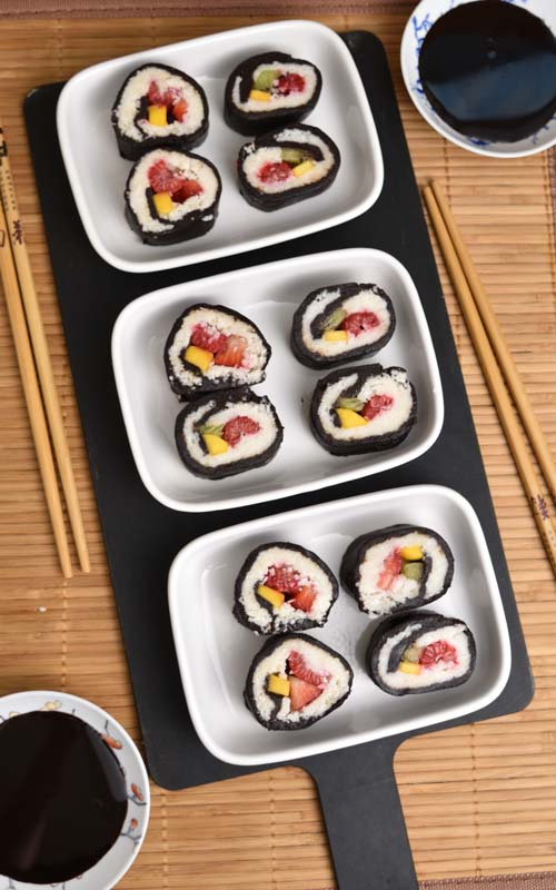Make Fresh Fruit Dessert Sushi
