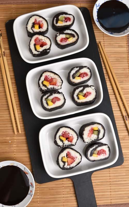 Make Fresh Fruit Dessert Sushi