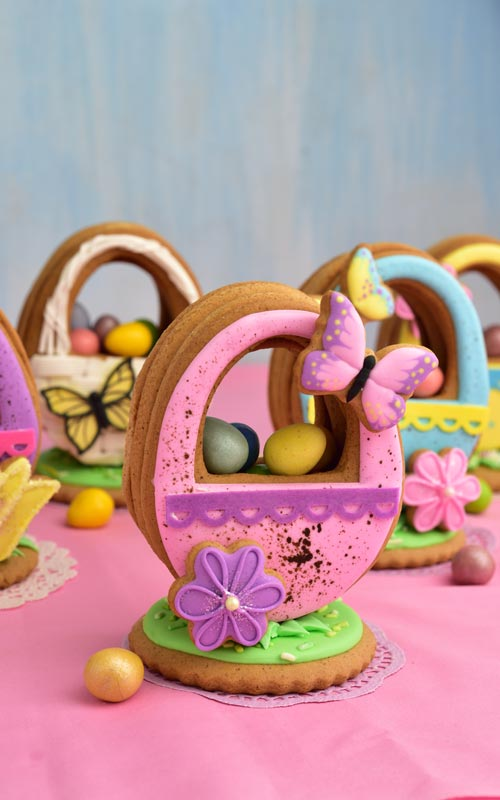 Pink Speckled Easter Basket Cookie Filled with candies