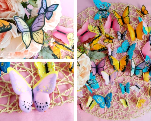 colorful royal icing butterflies