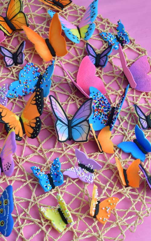 Colorful royal icing butterflies.