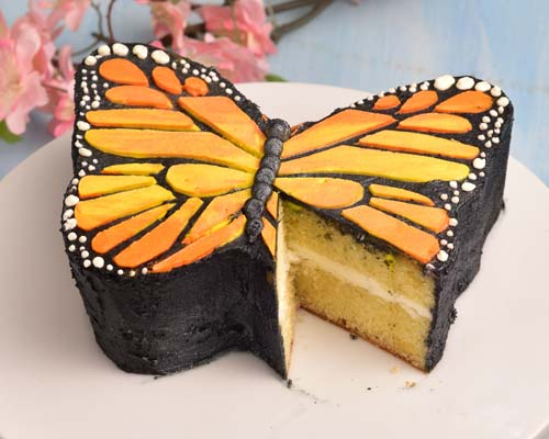 cut monarch butterfly cake