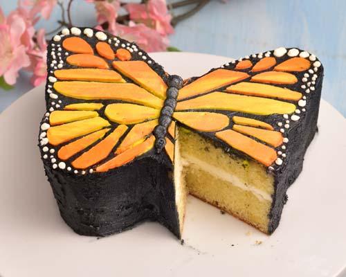cut monarch butterfly cake