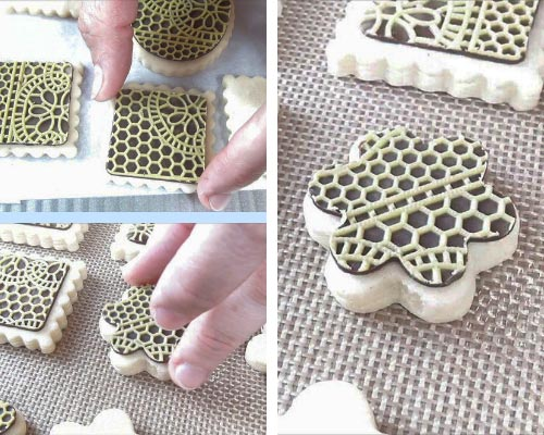 transferring chocolate lace onto a cookie