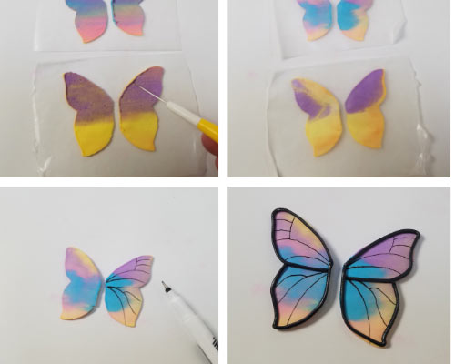 drawing on royal icing butterflies