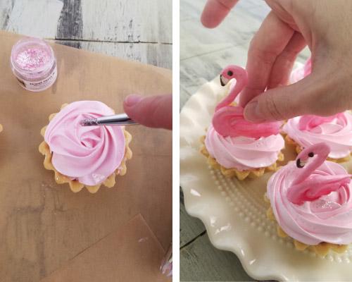 dusting meringue tarts with jewel dust