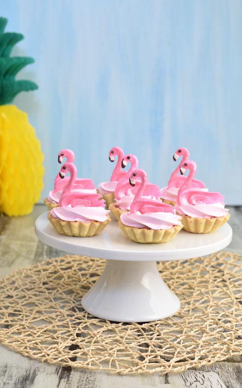 mini raspberry curd tarts with pink meringue and chocolate flamingos