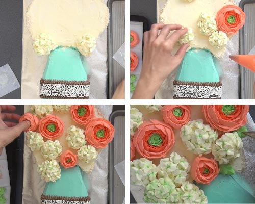 Attaching frozen buttercream flowers onto a cake.