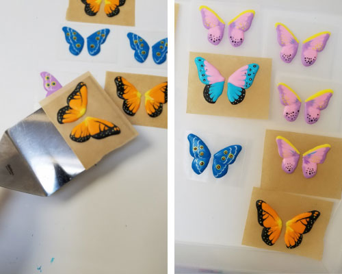 transferring royal icing butterflies with a spatula