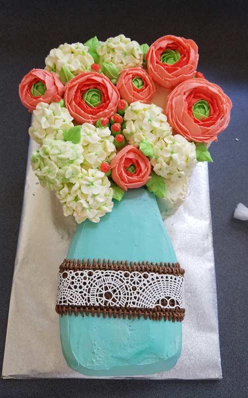 mason jar cake on a cake board