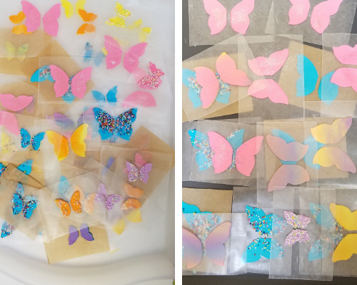 royal icing butterfly wings drying