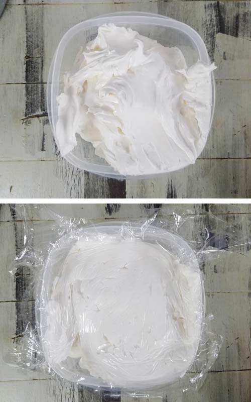 Royal icing in a container covered with a plastic wrap.