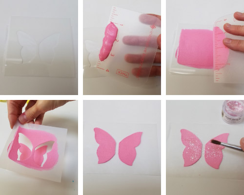 pink butterfly stenciled with royal icing