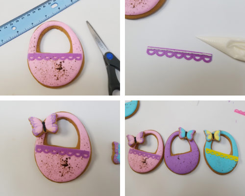 pink speckled easter egg cookies with wafer paper decoration