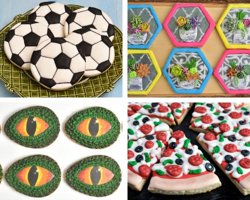 soccer ball, pizza, succulent and dinosaur cookie decorated with 20 second royal icing consistency