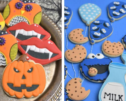 elmo and halloween decorated cookies