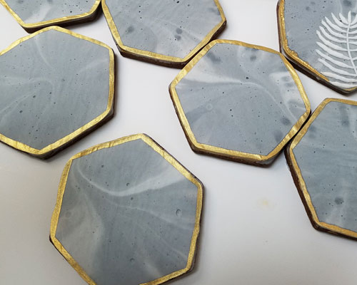 cookies with dried air bubbles in concrete texture royal icing