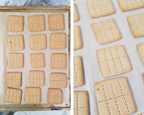 Baked graham crackers on a baking sheets.