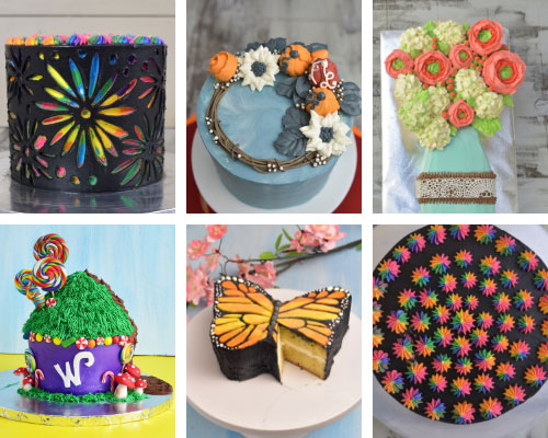 cakes decorated with swiss buttercream