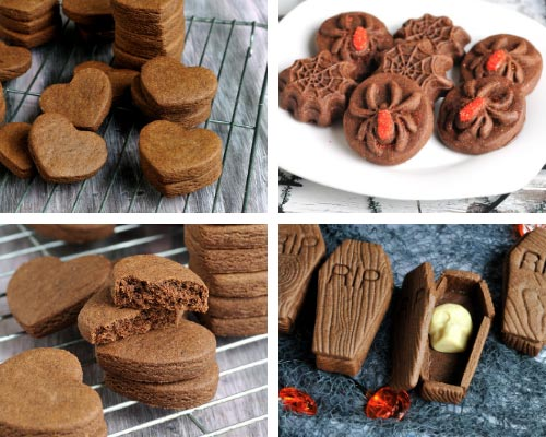chocolate cut out cookies shaped as spiders, Halloween coffin and heart cut outs