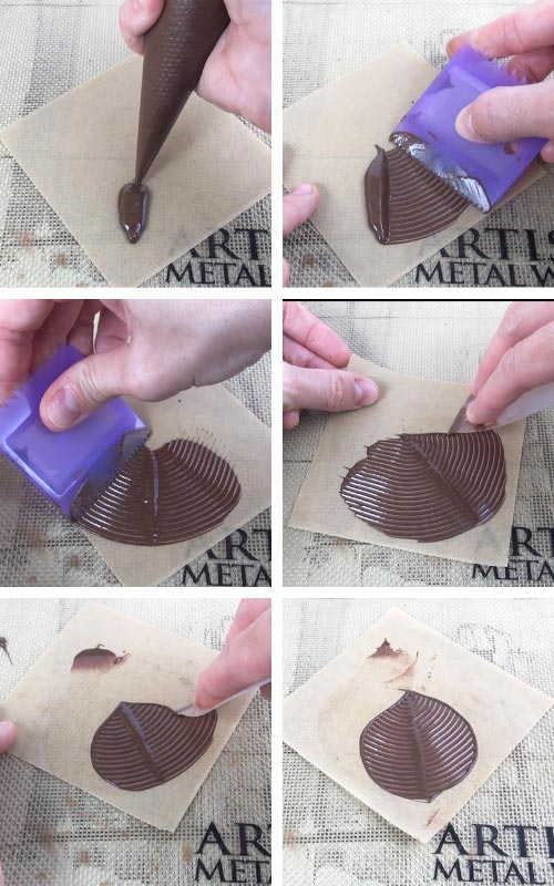 Making chocolate leaves.
