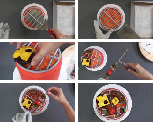 Decorating barbecue grill cake with edible fondant decorations.
