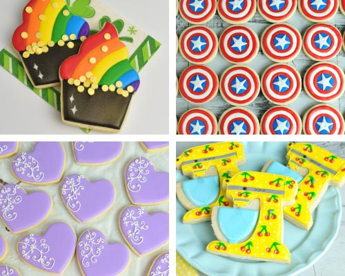 rainbow pot of gold, captain america shield cookies decorated with 15 second royal icing