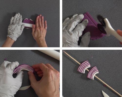 Purple and white fondant layered, cut into strips, shaping a fondant onion.