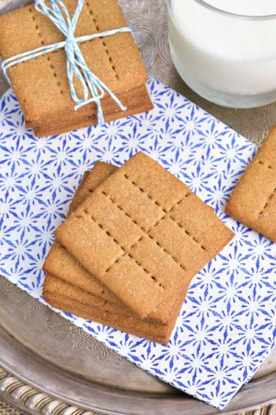 Homemade Graham Crackers on a blue paper napkin.
