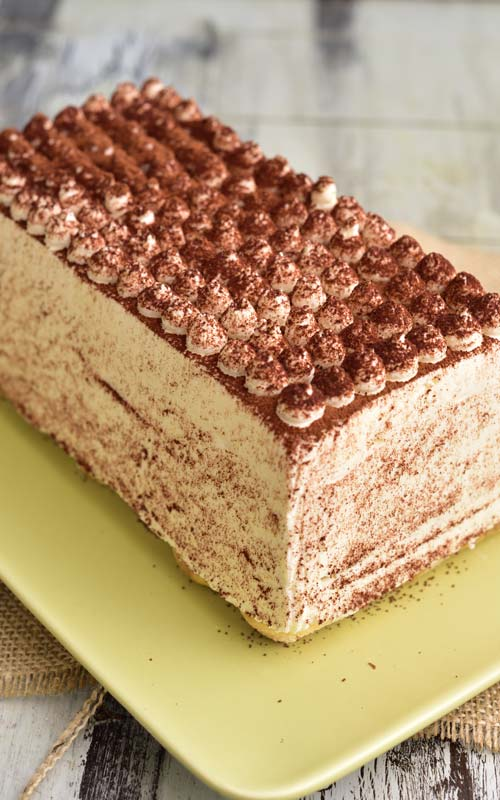 baileys tiramisu dusted with dark cocoa powder