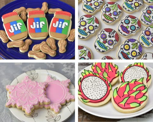 day of dead, snowflake, dragon fruit decorated cookies